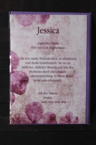 Jessica, Namenskarte, Geburtstagskarte, Glückwunschkarte, Personalisierte Karte