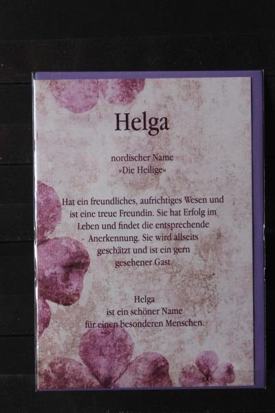 Helga, Namenskarte, Geburtstagskarte, Glückwunschkarte, Personalisierte Karte