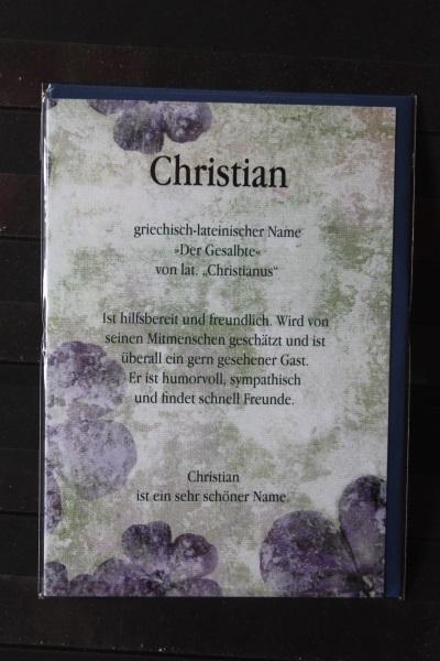 Christian, Namenskarte, Geburtstagskarte, Glückwunschkarte, Personalisierte Karte