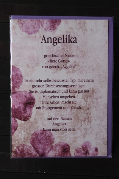 Angelika, Namenskarte, Geburtstagskarte, Glückwunschkarte, Personalisierte Karte