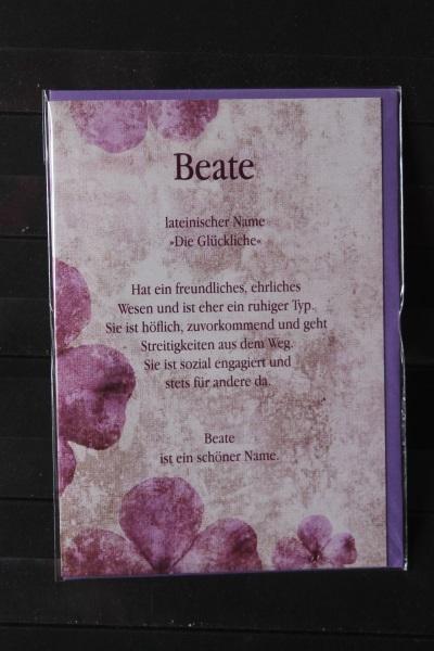Beate, Namenskarte, Geburtstagskarte, Glückwunschkarte, Personalisierte Karte