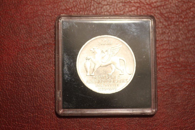 5 DM Silbermünze Gedenkmünze Archäologisches Institut, in besonderer Kapsel (siehe Artikelbeschreibung), Ausführung stg
