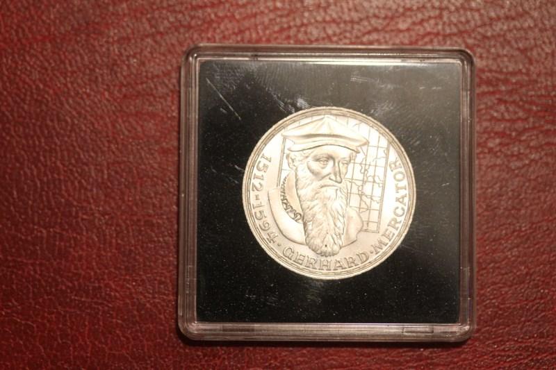 5 DM Silbermünze Gedenkmünze Gerhard Mercator, in besonderer Kapsel (siehe Artikelbeschreibung), Ausführung stg