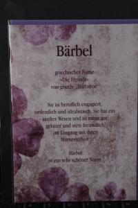 Bärbel, Namenskarte, Geburtstagskarte, Glückwunschkarte, Personalisierte Karte