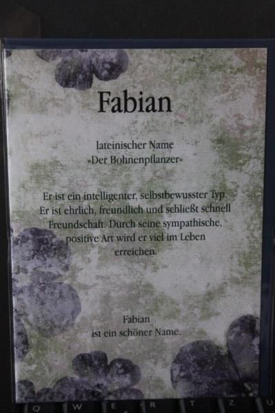 Fabian, Namenskarte, Geburtstagskarte, Glückwunschkarte, Personalisierte Karte