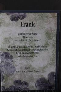 Frank, Namenskarte, Geburtstagskarte, Glückwunschkarte, Personalisierte Karte
