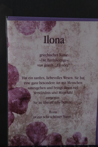Ilona, Namenskarte, Geburtstagskarte, Glückwunschkarte, Personalisierte Karte