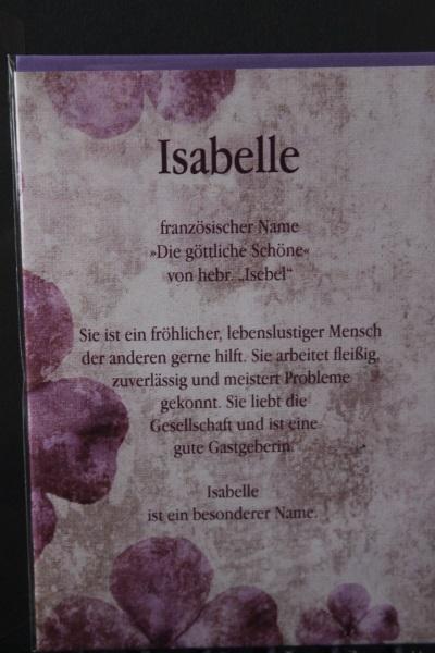 Isabelle, Namenskarte, Geburtstagskarte, Glückwunschkarte, Personalisierte Karte