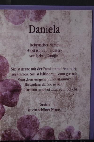 Daniela, Namenskarte, Geburtstagskarte, Glückwunschkarte, Personalisierte Karte