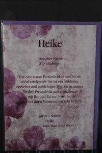 Heike, Namenskarte, Geburtstagskarte, Glückwunschkarte, Personalisierte Karte