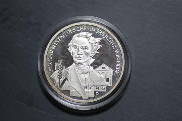 10 Euro Silbermünze Justus von Liebig, Polierte Platte, PP