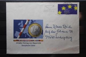Umschlag mit Sonderwertstempel; USo 65; 10 Jahre Vertrag von Mastricht , 2003