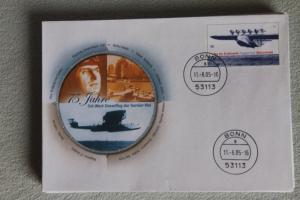 Umschlag mit Sonderwertstempel; USo 100; Tag der Briefmarke 2004, Ozeanüberquerung