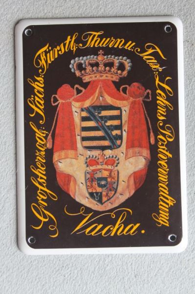 Thurn & Taxis emailliertes Posthausschild Vacha/Rhön, Replik zum Jubiläum 500 Jahre Post