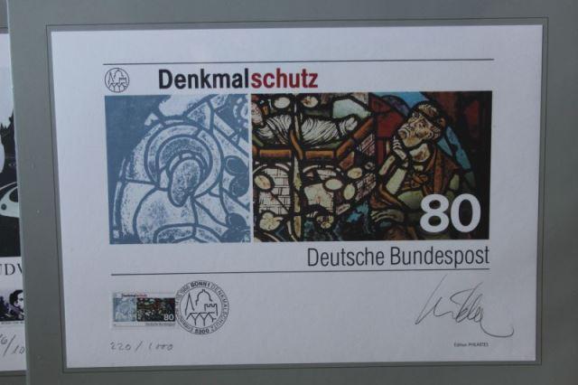 Briefmarkengrafik: Ausgabe Denkmalschutz, DIN A4-Blatt; Auflage 1000 Blatt, handsigniert