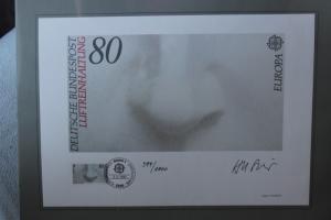 Künstleredition; Kunstgrafik: EUROPA-Marke Luftreinhaltung  von 1986; Handsigniert