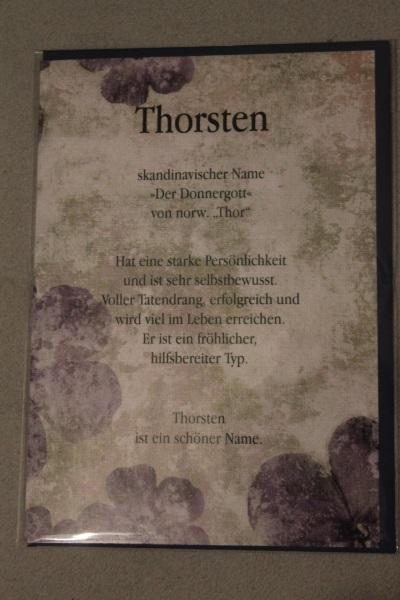 Thorsten, Namenskarte, Geburtstagskarte, Glückwunschkarte, Personalisierte Karte