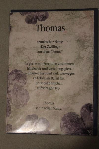 Thomas, Namenskarte, Geburtstagskarte, Glückwunschkarte, Personalisierte Karte