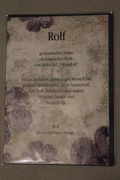 Rolf, Namenskarte, Geburtstagskarte, Glückwunschkarte, Personalisierte Karte
