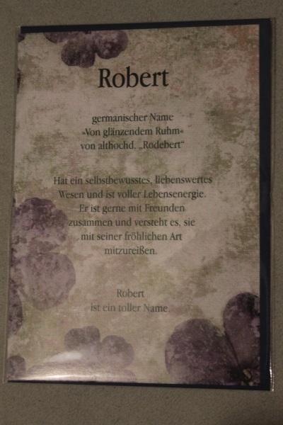 Robert, Namenskarte, Geburtstagskarte, Glückwunschkarte, Personalisierte Karte
