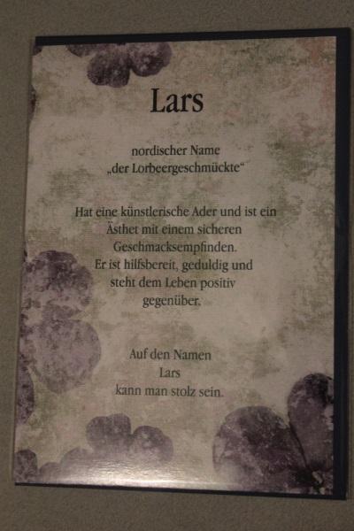 Lars, Namenskarte, Geburtstagskarte, Glückwunschkarte, Personalisierte Karte