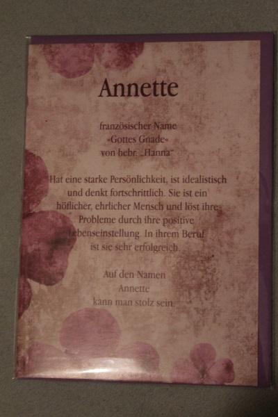 Annette, Namenskarte, Geburtstagskarte, Glückwunschkarte, Personalisierte Karte