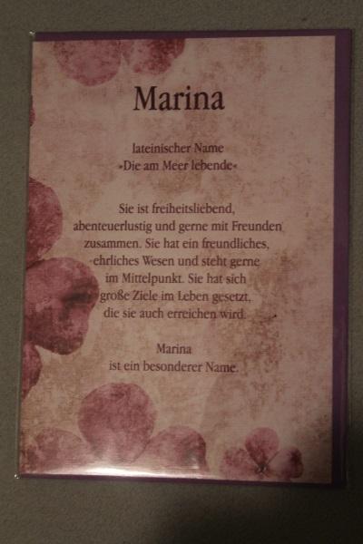 Marina, Namenskarte, Geburtstagskarte, Glückwunschkarte, Personalisierte Karte