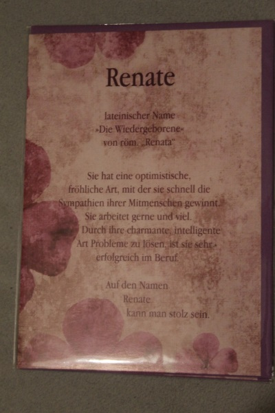 Renate, Namenskarte, Geburtstagskarte, Glückwunschkarte, Personalisierte Karte