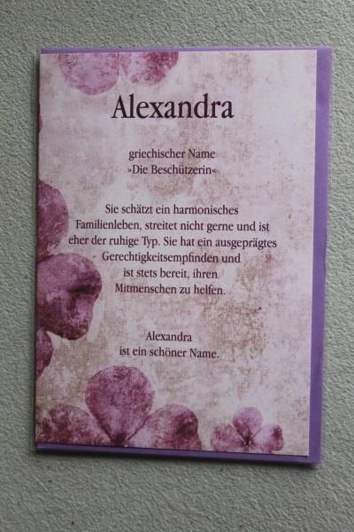 Alexandra, Namenskarte, Geburtstagskarte, Glückwunschkarte, Personalisierte Karte