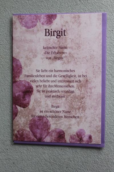 Birgit, Namenskarte, Geburtstagskarte, Glückwunschkarte, Personalisierte Karte