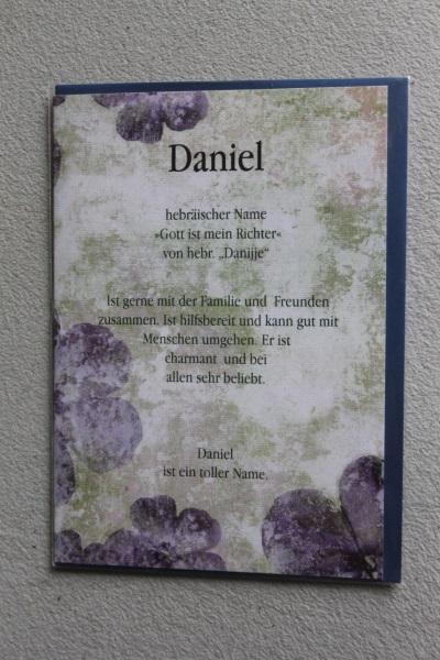 Daniel, Namenskarte, Geburtstagskarte, Glückwunschkarte, Personalisierte Karte