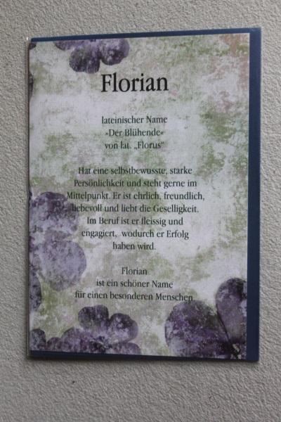 Florian, Namenskarte, Geburtstagskarte, Glückwunschkarte, Personalisierte Karte