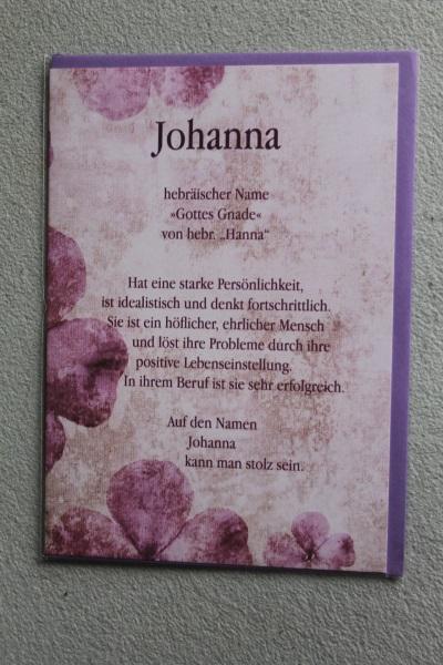 Johanna, Namenskarte, Geburtstagskarte, Glückwunschkarte, Personalisierte Karte