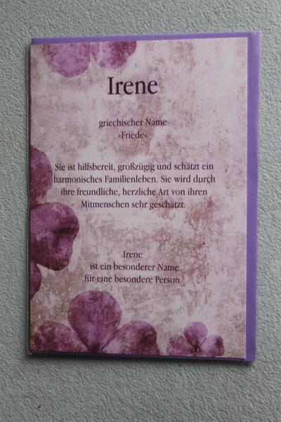 Irene, Namenskarte, Geburtstagskarte, Glückwunschkarte, Personalisierte Karte