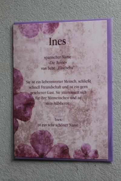 Ines, Namenskarte, Geburtstagskarte, Glückwunschkarte, Personalisierte Karte