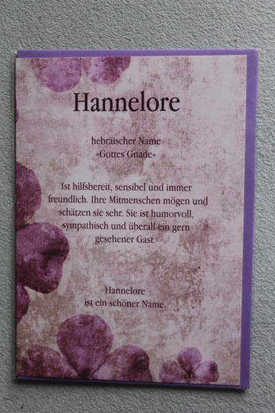 Hannelore, Namenskarte, Geburtstagskarte, Glückwunschkarte, Personalisierte Karte