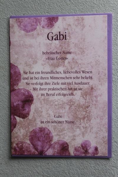 Gabi, Namenskarte, Geburtstagskarte, Glückwunschkarte, Personalisierte Karte