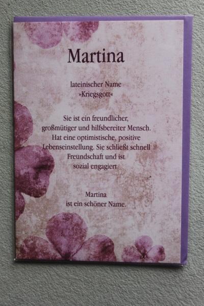 Martina, Namenskarte, Geburtstagskarte, Glückwunschkarte, Personalisierte Karte