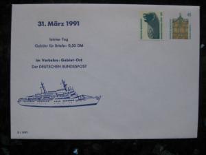 Ganzsache zum 31. 3. 1991 Letzter Tag für Briefporto 50 Pf. im VGO 0