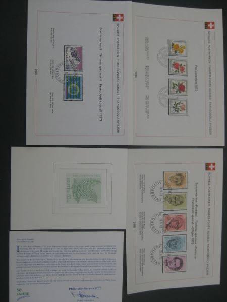 7 Ersttagsblätter aus 1970,1971 und 1972 Schweiz Jubiläumsgeschenk der PTT 1993