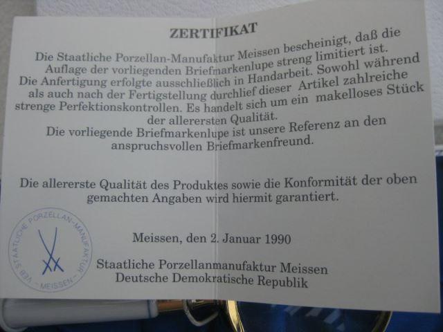 Lupe der Staatl. Porzellanmaunfaktur Meissen mit Zertifikat im Geschenkkarton