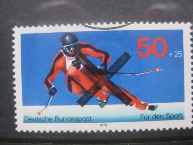 Bundesrepublik Michel-Nr. 958 mit Andreaskreuz Entwertung Für den Sport. Skiläufer