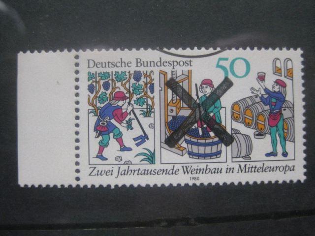 Bundesrepublik Michel-Nr. 1063 mit Andreaskreuz Entwertung Weinbau