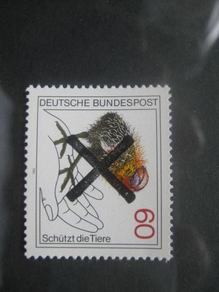 Bundesrepublik Michel-Nr. 1102 mit Andreaskreuz Entwertung Tierschutz