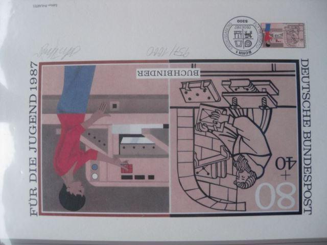 Künstleredition ;Jugendmarken Buchbinder 1987; Handsigniert und numeriert 957/1000, Briefmarkengrafik