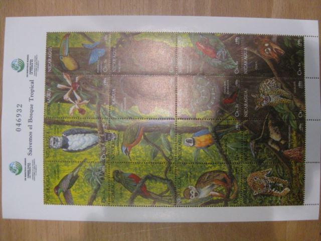 Nicaragua, Kleinbogen mit 16 verschiedenen Marken, Fauna, Tiere