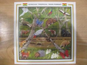Ghana, Kleinbogen mit 20 verschiedenen Marken African Tropical Rain Forest