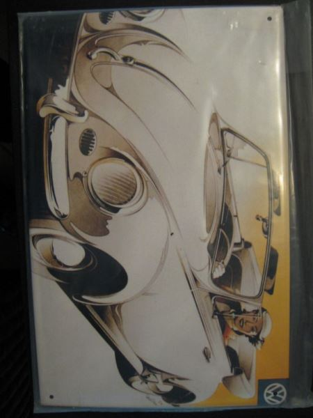 Blechschild mit VW- Reklame, ca. DIN A4-Format