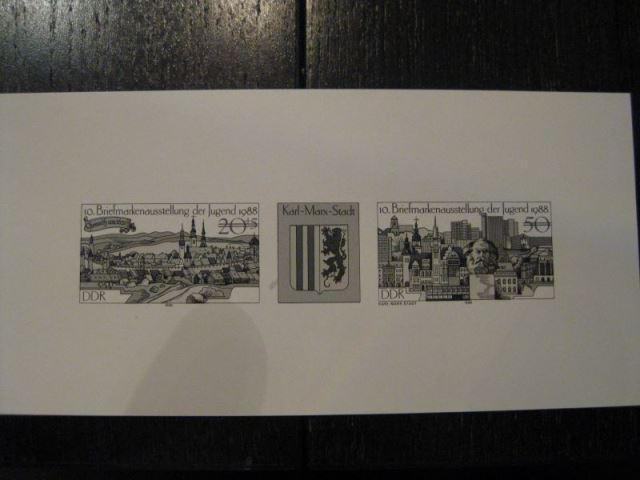 Schwarzdruck DDR Michel-Nr. 3175-76 Zusammendruck-Dreierstreifen