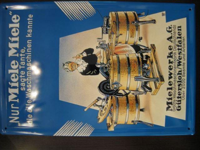 Blechschild mit MIELE- Reklame, ca. DIN A4-Format